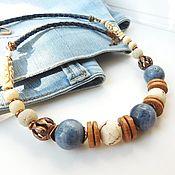 Украшения handmade. Livemaster - original item Beads on leather cord Denim wind. Handmade.