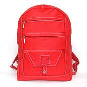 Сумки и аксессуары ручной работы. Ярмарка Мастеров - ручная работа Большой Красный кожаный  рюкзак на молнии. Handmade.