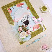 """Подарок новорожденному ручной работы. Ярмарка Мастеров - ручная работа Папка для  документов """"Фламинго"""". Handmade."""