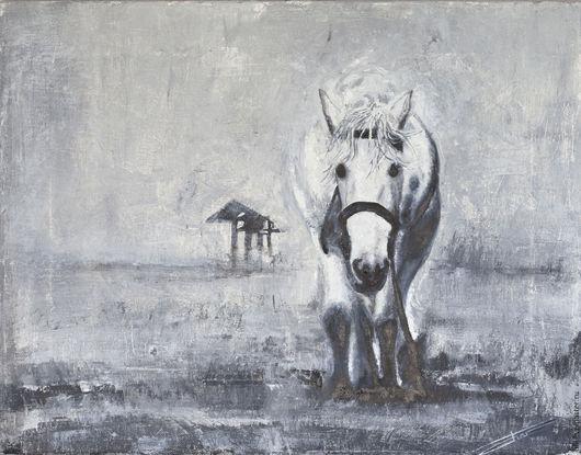 Животные ручной работы. Ярмарка Мастеров - ручная работа. Купить Лошадь. Handmade. Черный, монохром, картина лошадь