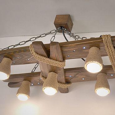 Освещение ручной работы. Ярмарка Мастеров - ручная работа Люстра из дерева с ночником и плафонами из каната. Handmade.