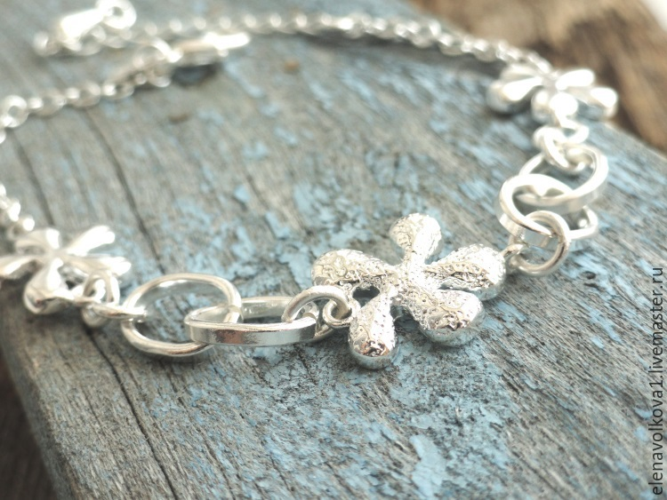 Цветок браслет серебро