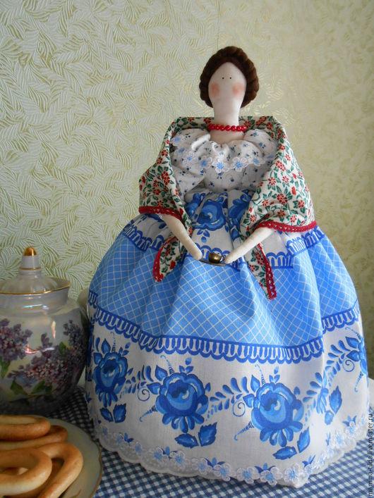 """Куклы Тильды ручной работы. Ярмарка Мастеров - ручная работа. Купить Кукла-грелка на чайник """"Гжель"""". Handmade. Синий, гжель"""