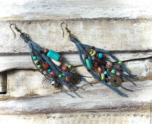 Серьги ручной работы. Ярмарка Мастеров - ручная работа. Купить Дымчато-голубые африканские серьги  (бохо, этно, винтаж, трайбл). Handmade.