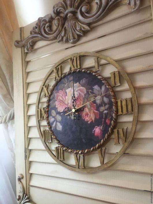 Часы для дома ручной работы. Ярмарка Мастеров - ручная работа. Купить Чассы Викторианская роза большие. Handmade. Часы