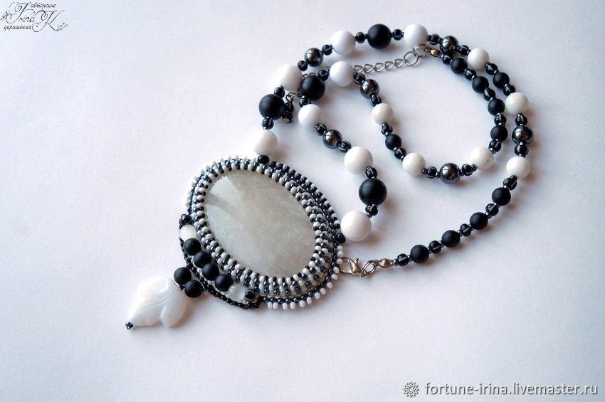 Pendant with milk quartz Harmony black and white, Pendant, Rostov-on-Don,  Фото №1