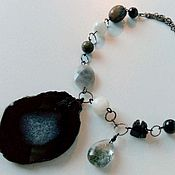 Украшения handmade. Livemaster - original item Necklace with slice of agate, moonstone, and obsidian.. Handmade.