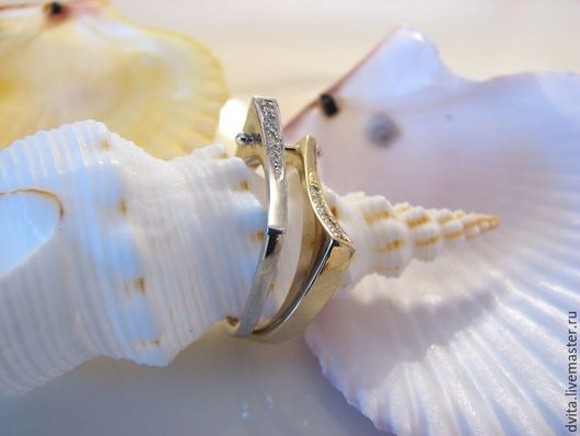 Кольца ручной работы. Ярмарка Мастеров - ручная работа. Купить Золотое кольцо с бриллиантами авторская работа. Handmade. Комбинированный, золото