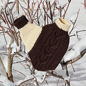 Аксессуары handmade. Livemaster - original item Mitten for lovers Lovebirds knitted Coffee with milk. Handmade.