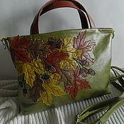 Сумки и аксессуары handmade. Livemaster - original item Leather bag. Bag with applique. Autumn green classics. Handmade.