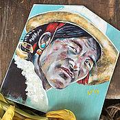 Картины ручной работы. Ярмарка Мастеров - ручная работа Портрет тибетского мужчины в шляпе. Handmade.