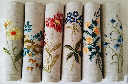 Кухня ручной работы. Ярмарка Мастеров - ручная работа. Купить Льняные салфетки Полевые цветы. Handmade. Лён натуральный