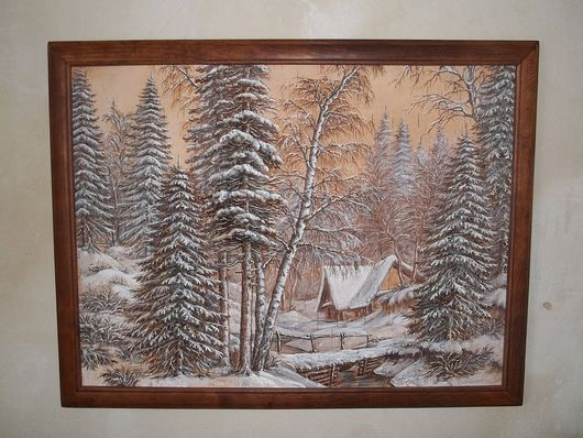 Пейзаж ручной работы. Ярмарка Мастеров - ручная работа. Купить зима. Handmade. Белый, береста