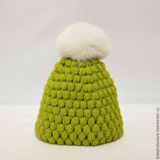 Шапки ручной работы. Ярмарка Мастеров - ручная работа. Купить Детская шапочка и шарф-хомут (зеленый+белый). Handmade. Зеленый