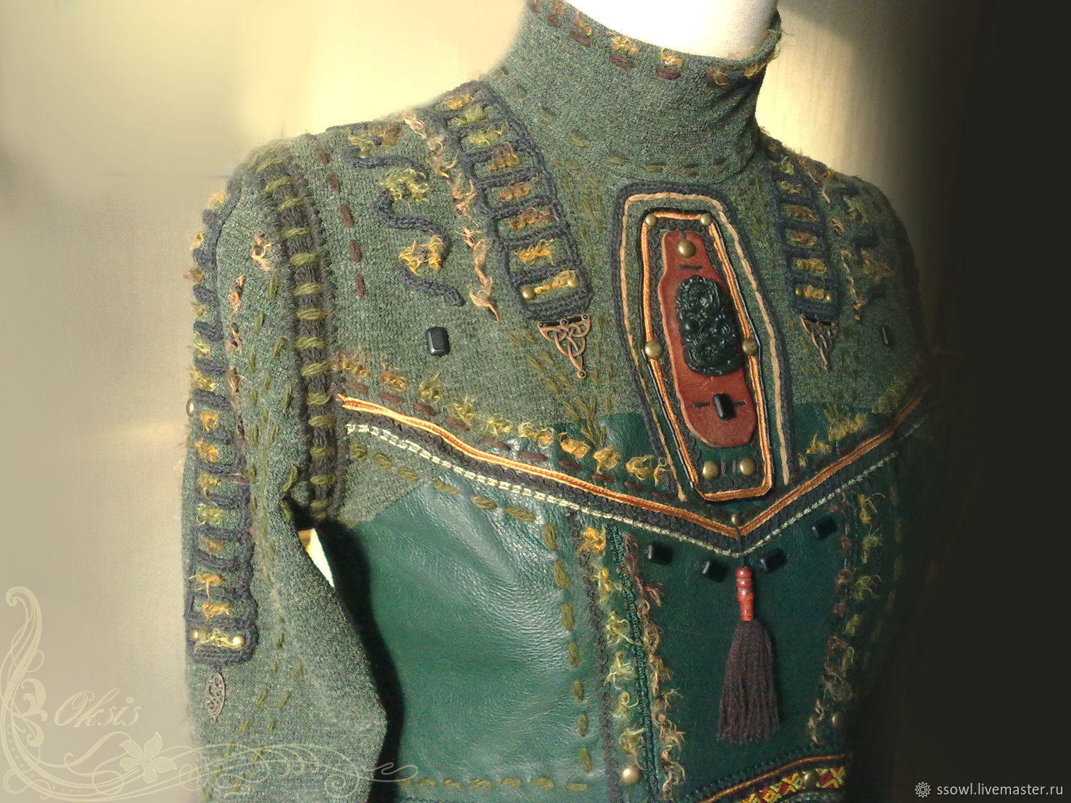 Blouse ethno style khaki knitwear cotton hand embroidery decor yarn wool, fluffy thread carved jade beads Leather insert Green sweater ethnics, riveting, braid. Fitted Beautiful For every day