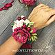 Свадебные украшения ручной работы. Ярмарка Мастеров - ручная работа. Купить Браслет вишневый из полимерной глины. Handmade. Вишня, розовый