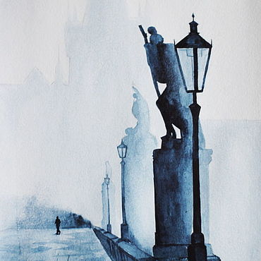 """Картины и панно ручной работы. Ярмарка Мастеров - ручная работа Акварель """"Прага. Туман"""". Handmade."""