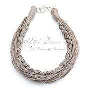 Украшения handmade. Livemaster - original item Linen necklace natural gray marine style linen boho eco ethno. Handmade.