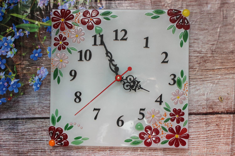 """Настенные часы фьюзинг """"Цветы"""", Часы, Ступино, Фото №1"""