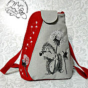 Сумки и аксессуары handmade. Livemaster - original item Textile backpack My hedgehog by oduvan. Handmade.
