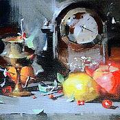 """Картины ручной работы. Ярмарка Мастеров - ручная работа Картина маслом """"Натюрморт фруктов с часами"""".. Handmade."""