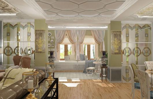 Дизайн интерьеров ручной работы. Ярмарка Мастеров - ручная работа. Купить дизайн столовой/гостиной/зоны отдыха. Handmade. Комбинированный, гостиная