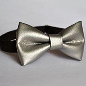 Аксессуары handmade. Livemaster - original item Tie Silver / leather bow tie silver, leatherette. Handmade.