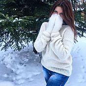 Одежда ручной работы. Ярмарка Мастеров - ручная работа Белый свитер женский из альпаки,  кофта, джемпер. Handmade.