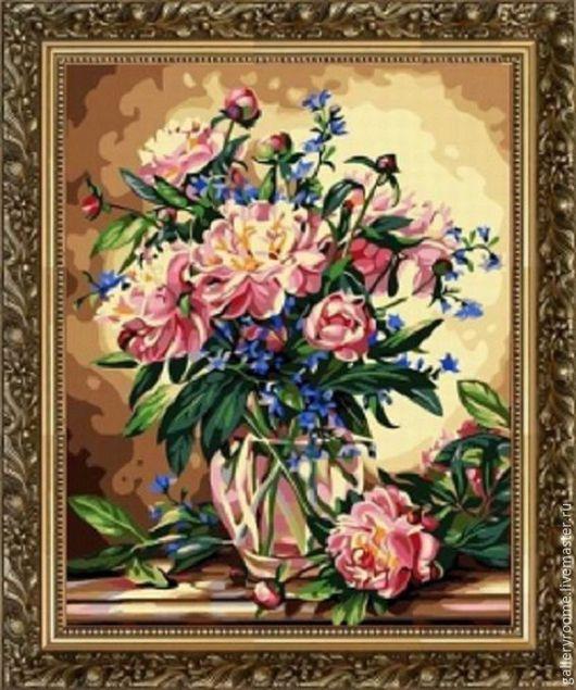 Другие виды рукоделия ручной работы. Ярмарка Мастеров - ручная работа. Купить Картина по номерам Пионы. Handmade. Картина с цветами