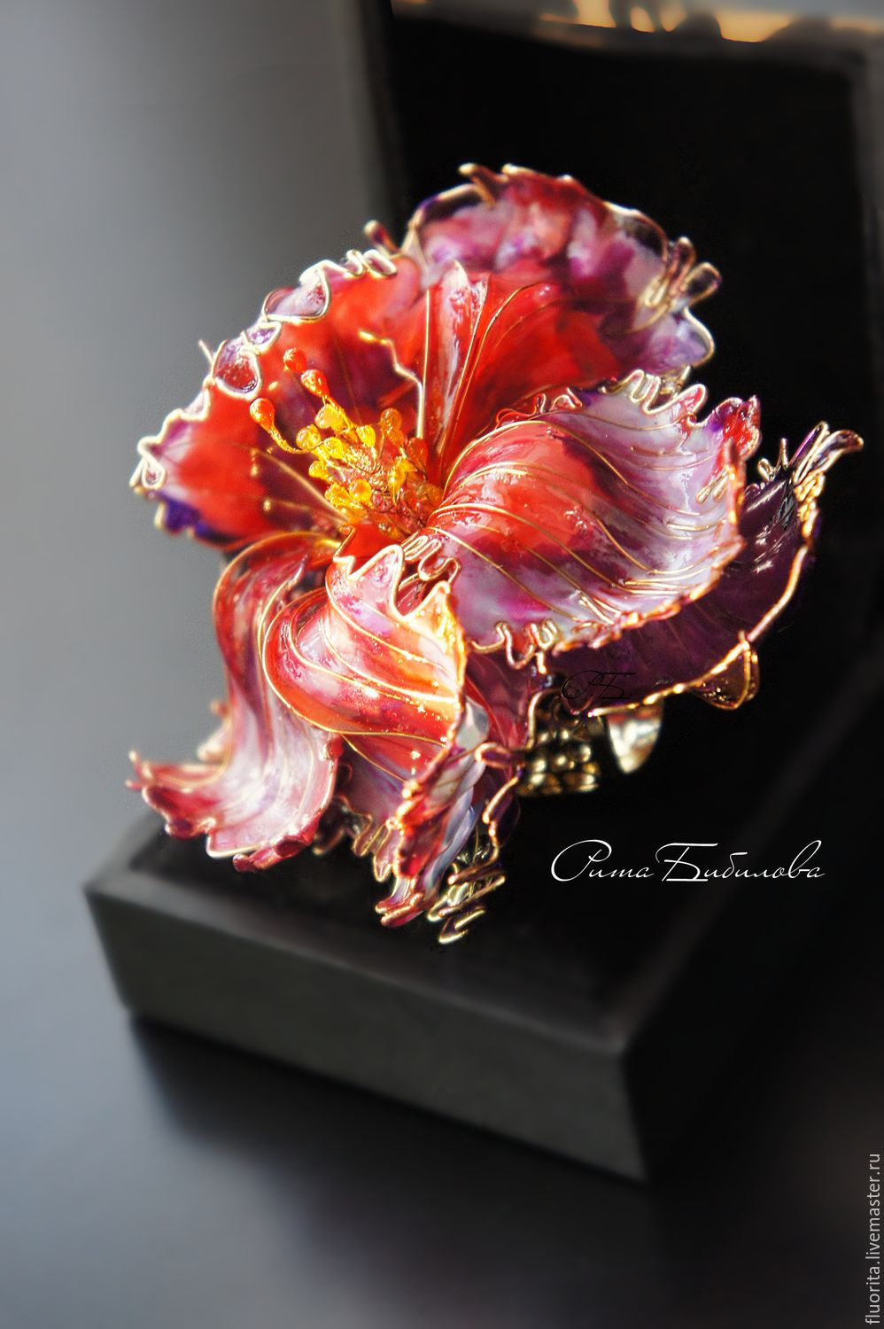 Large flower ring, VIDEO, stained glass, jewelry, cocktail, Rings, St. Petersburg,  Фото №1