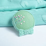 "Brooches handmade. Livemaster - original item Brooch "" Mint tenderness"". Handmade."