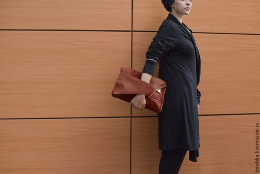 Женские сумки ручной работы. Ярмарка Мастеров - ручная работа. Купить Клатч с молнией. Handmade. Клатч, женщина, треугольник, рыжий