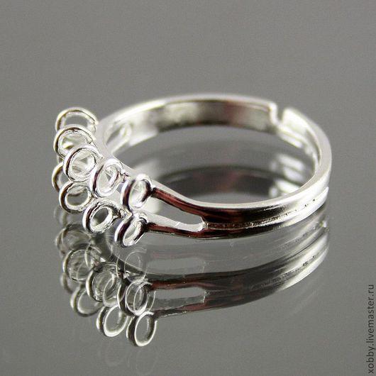 Безразмерная латунная основа кольца с серебрением для сборки колец с подвесками На кольце имеется два ряда замкнутых колечек по 5 пар для крепления подвесок-бусинок Идеально для изготовления колец ё