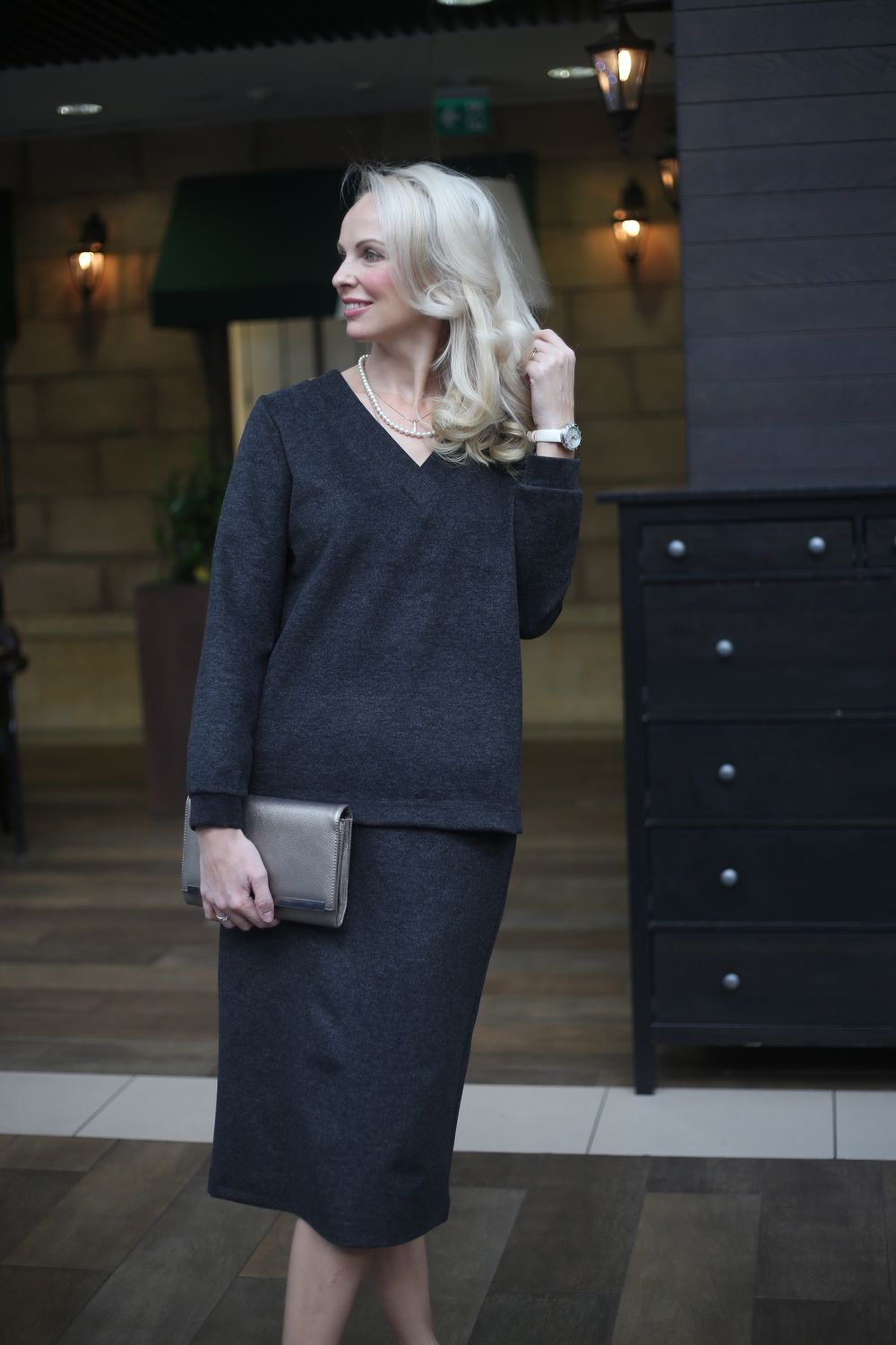 Warm knitted suit with Graphite skirt, Suits, Moscow,  Фото №1