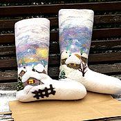 Подарки к праздникам ручной работы. Ярмарка Мастеров - ручная работа Валенки. Сапожок для подарков. Декоративные валенки. Handmade.