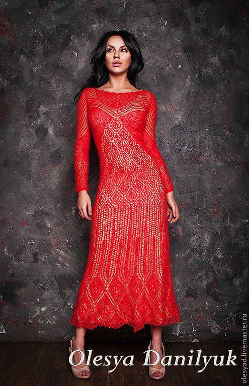 Платья ручной работы. Ярмарка Мастеров - ручная работа. Купить Красное платье. Handmade. Ярко-красный, ажурное платье