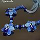 Колье голубая орхидея, подарок подруге, бусы из цветов