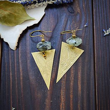Decorations handmade. Livemaster - original item Triangular boho earrings with prenite Long earrings in brass Gold. Handmade.