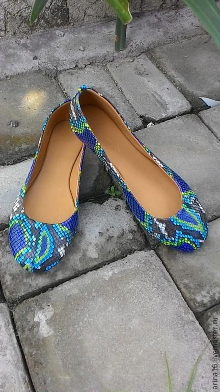 Обувь ручной работы. Ярмарка Мастеров - ручная работа. Купить Балетки павлин. Handmade. Разноцветный, балетки из питона, Балетки на заказ