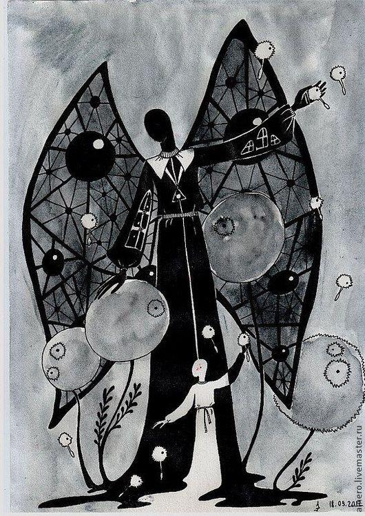 """Фантазийные сюжеты ручной работы. Ярмарка Мастеров - ручная работа. Купить Аркан 1 """"Маг"""". Handmade. Чёрно-белый, эзотерика"""
