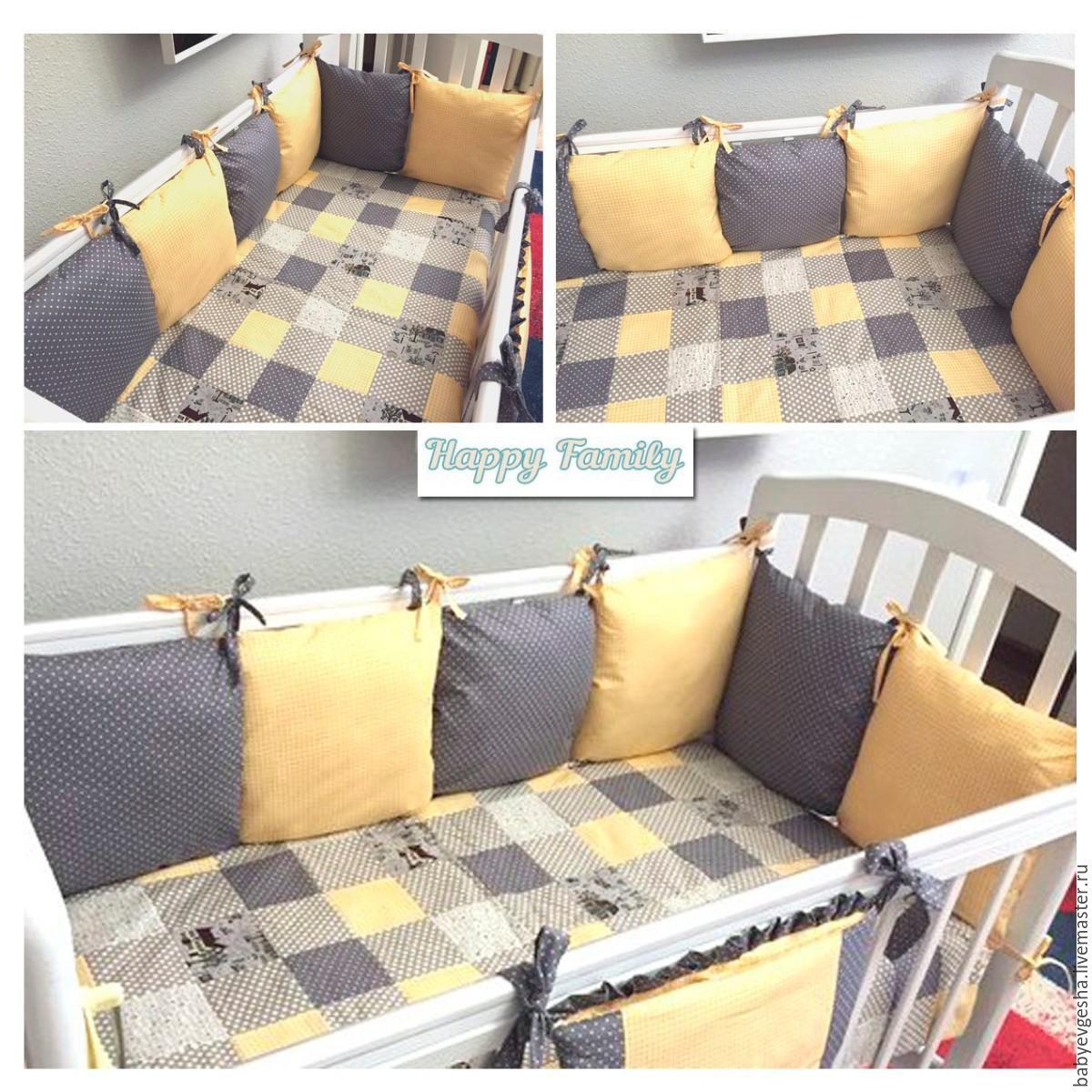 Как сшить бортики подушки на детскую кроватку своими руками фото