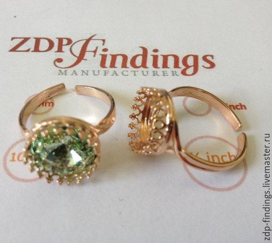 Для украшений ручной работы. Ярмарка Мастеров - ручная работа. Купить 2 серебряные позолоченные 12мм основы для кольца  8480SHRP. Handmade.