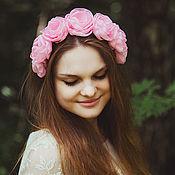 """Украшения handmade. Livemaster - original item Ободок на голову с нежно-розовыми розами """"Sweet pink"""". Handmade."""