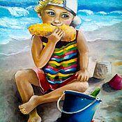 Картины и панно ручной работы. Ярмарка Мастеров - ручная работа Картина маслом  Ребенок с кукурузой. Handmade.