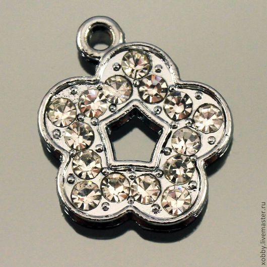 Металлические подвески в форме цветка с пятью лепесками усыпанные стразами для использования в сборке украшений Металл сплав с покрытием имитация серебра