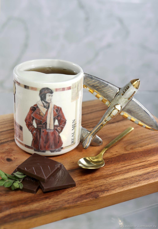 "Чашка для усов ""Авиатор"" фарфоровая, Mugs and cups, Moscow,  Фото №1"