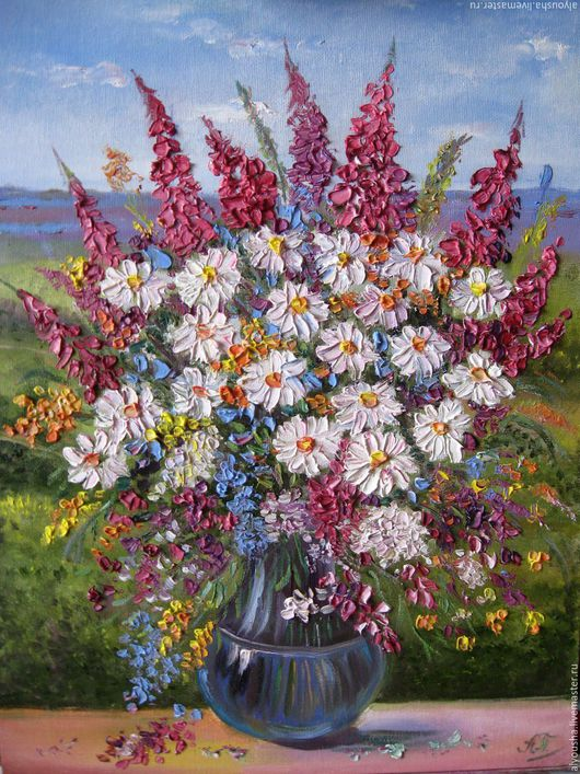 """Картины цветов ручной работы. Ярмарка Мастеров - ручная работа. Купить Картина маслом  цветы   .""""Полевые цветы"""". Handmade. Цветы"""