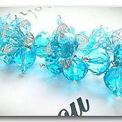 """Украшения ручной работы. Ярмарка Мастеров - ручная работа Браслет """" Голубые цветы"""" гранённое стекло. Handmade."""