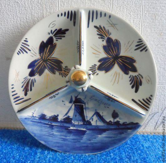 Винтажная посуда. Ярмарка Мастеров - ручная работа. Купить Delft сырная тарелка, менажница Делфт. Handmade. Голубой, Делфтский фарфор