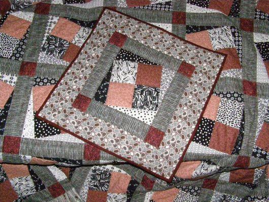 """Текстиль, ковры ручной работы. Ярмарка Мастеров - ручная работа. Купить """"Чёрный жемчуг и коралл"""" (лоскутный комплект).. Handmade. Patchwork"""